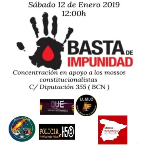 12e19 apoyo usi mossos constitucionalistas basta de impunidad r